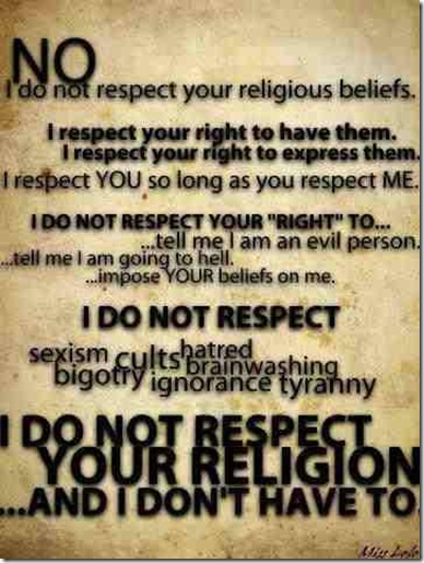 no respect for religion