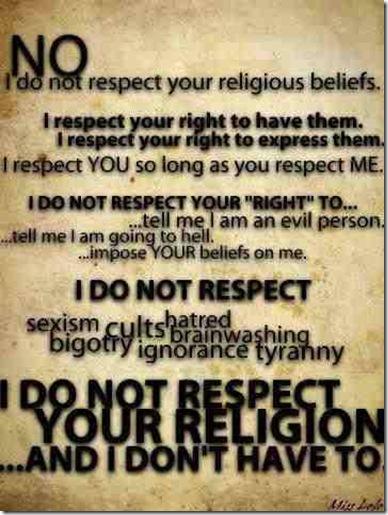 no respect for religion